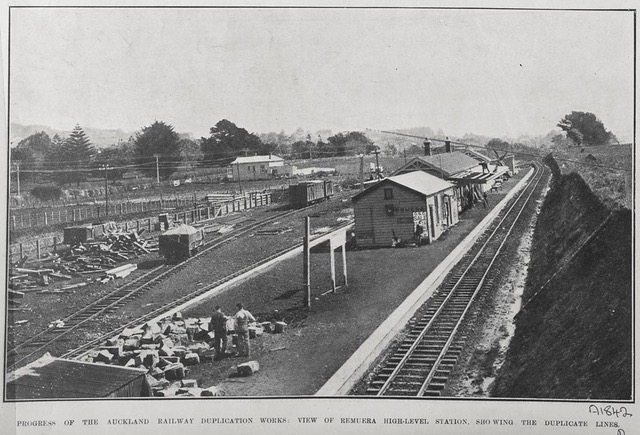 Remuera Railway Station under construction – 12 September 1907 Progress on Auckland Railway Duplication Works Courtesy Sir George Grey Special Collections, Auckland Libraries.
