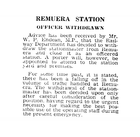 Remuera Station. Auckland Star, 22 May 1942.