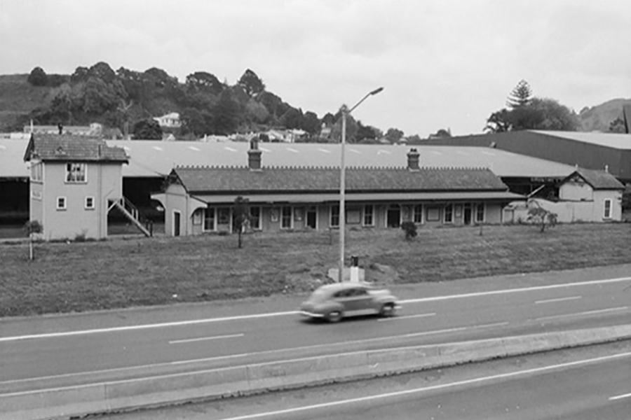 Remuera Railway Station viewed from Southern Motorway